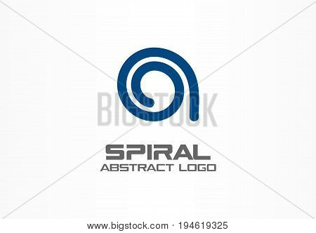 Abstract business company logo. Corporate identity design element. Contact us, social media, growth, internet connect logotype idea. Loading spiral, swirl, technology progress concept. Vector icon