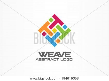 Abstract logo for business company. Corporate identity design element. Weave, letter t, print logotype idea. Square group, integrate, technology mix concept. Color Vector connect icon