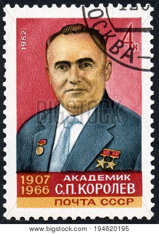 UKRAINE - CIRCA 2017: A postage stamp printed in USSR devoted 75th Birth Anniversary of S.P.Korolev circa 1982