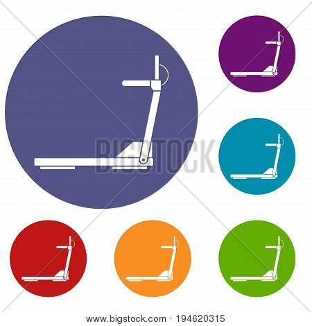 Sport treadmill running road equipment icons set in flat circle reb, blue and green color for web
