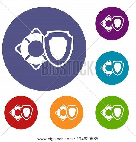 Lifebuoy and safety shield icons set in flat circle reb, blue and green color for web