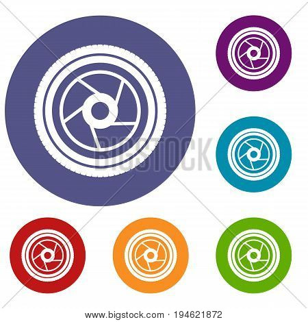 Camera aperture icons set in flat circle reb, blue and green color for web