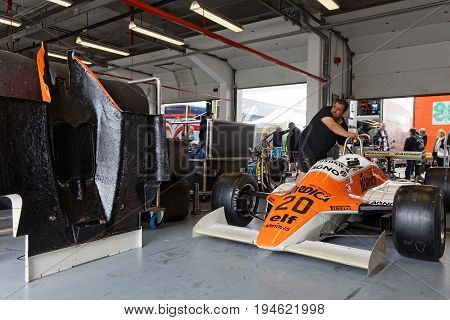 Magny-cours, France, June 30, 2017 : Arrows F1 In Pits. The First French Historic Grand Prix Takes P