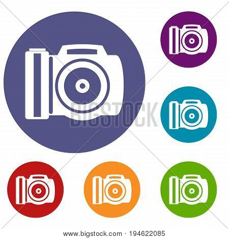 Camera icons set in flat circle reb, blue and green color for web
