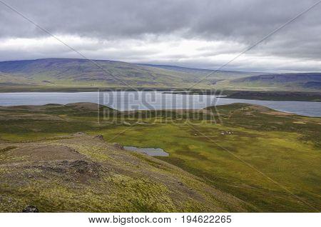 View To  Vesturhopsvatn (vesturhop Lake) From Borgarvirki (columnar Basalt Fortress)  On Vatnsnes Pe