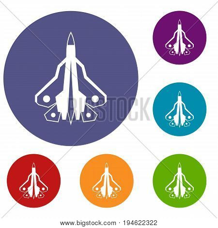 Military fighter plane icons set in flat circle reb, blue and green color for web