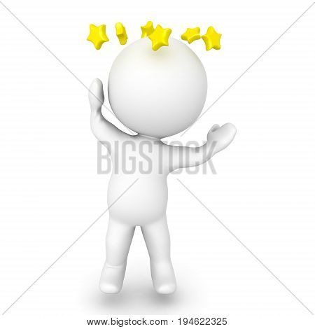 3D Character Is Dizzy And Has Stars Spinning Around His Head