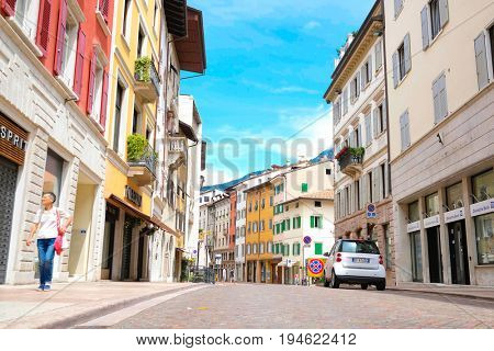 Trento, Italia - June, 27, 2017: street in a center of Trento, North Italia
