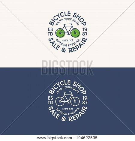 Bicycle shop logo set color and line style consisting of bike and sign sale and repair for explore emblem, travel badge, sport label, tourist symbol, service sticker, poster, kids camp, tour, rental