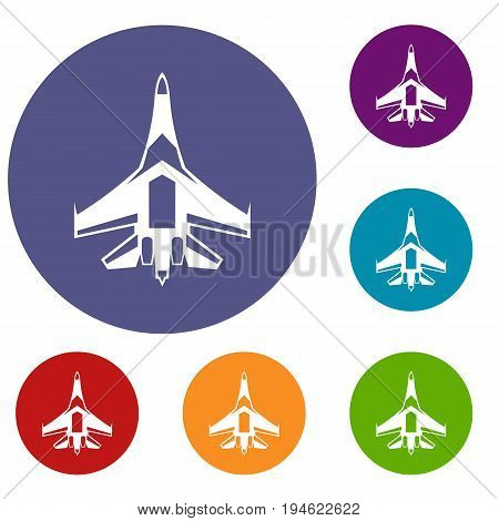 Jet fighter plane icons set in flat circle reb, blue and green color for web