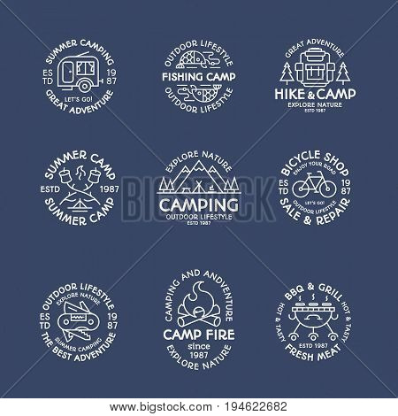 Camping logo set line style white color consisting of tent, fish, fire, camper, mountain, backpack, bicycle, barbecue, grill, trees for tourist symbol, explore emblem, travel badge, expedition label