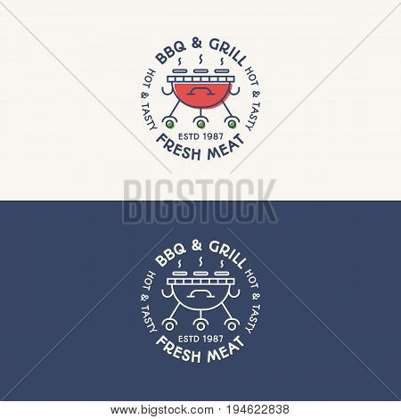 BBQ and grill logo set color and line style with sign fresh meat for bbq party, barbecue emblem, badge, symbol, label, sticker, logotype, poster, banner and other design. Vector Illustration