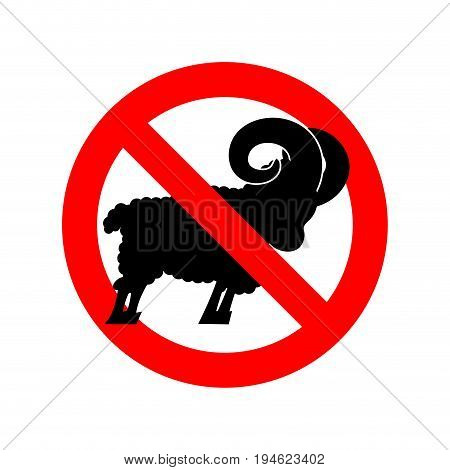Stop Ram. Attention Farm Animal. Red Prohibitory Road Sign. Ban Sheep