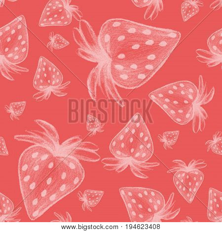 Hand drawn white strawberry on the pink background.Pencil style.Stiylish seamless texture.