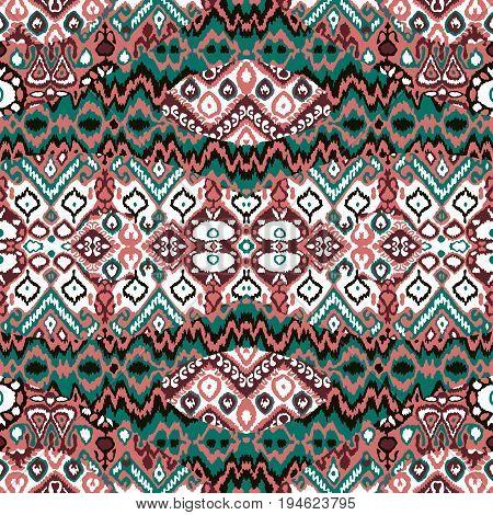 Ethnic bohemian arabesque pattern. Zigzag geometric retro abstract print. Tribal boho background vector illustration