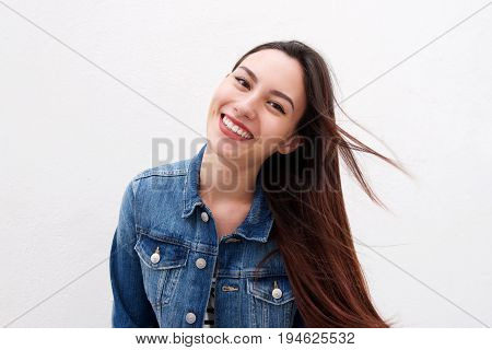 Beautiful Woman In Denim Jacket With Long Hair Blowing