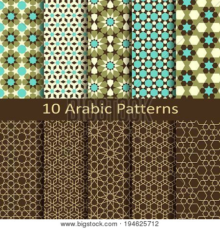 vector set of ten seamless traditional arabic geometric star patterns