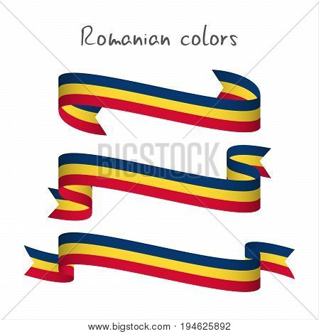 Set of three modern colored vector ribbon with the Romanian tricolor isolated on white background abstract Romanian flag Made in Romania logo