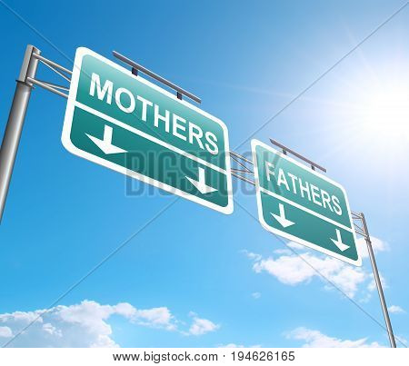 3d Illustration depicting a sign with a mothers and fathers concept.
