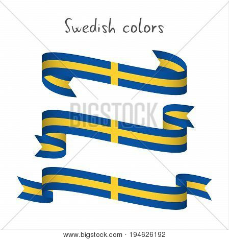 Set of three modern colored vector ribbon with the Swedish colors isolated on white background abstract Swedish flag Made in Sweden logo