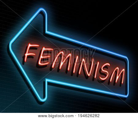 3d Illustration depicting an illuminated neon sign with a feminism concept.