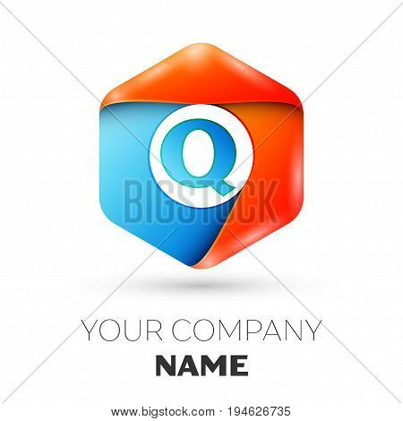 Letter Q vector logo symbol in the colorful hexagonal on white background. Vector template for your design