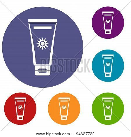 Cream sun protection icons set in flat circle reb, blue and green color for web
