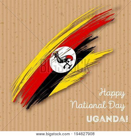 Uganda Independence Day Patriotic Design. Expressive Brush Stroke In National Flag Colors On Kraft P