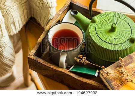 Book cup of hot red fruit tea green pot in tray knitted sweater hanging on wooden chair dry twig cozy autumn fall atmosphere calmness