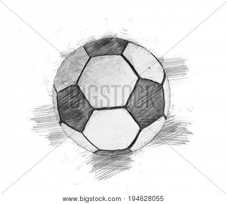 Pencil sketch soccer ball