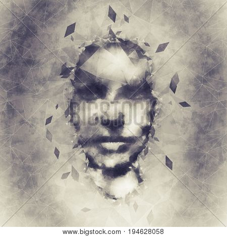 Abstract woman face polygon design