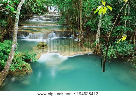 Level 1 Of Huay Mae Kamin Waterfall In Khuean Srinagarindra National Park, Kanchanaburi, Thailand