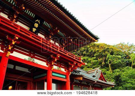 The corner of a shrine in Kamakura, Japan.