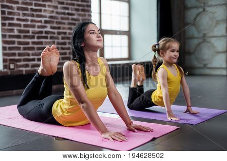 Two female gymnasts of different age doing stretching exercise arching back trying to touch head with feet training.