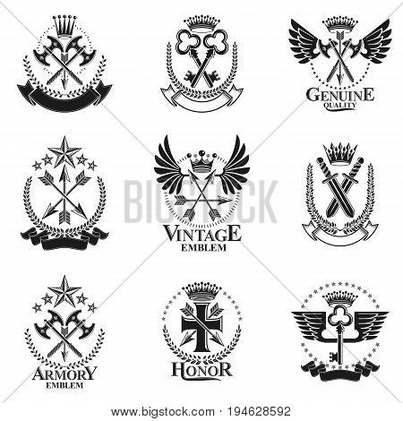 Vintage Weapon Emblems set. Heraldic coat of arms decorative emblems collection.
