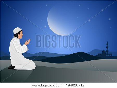 vector illustration man praying  on moon background