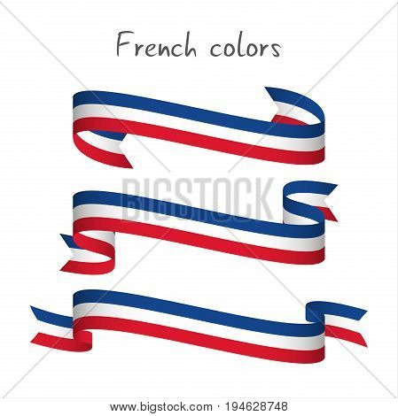 Set of three modern colored vector ribbon with the French tricolor isolated on white background abstract French flag Made in France logo