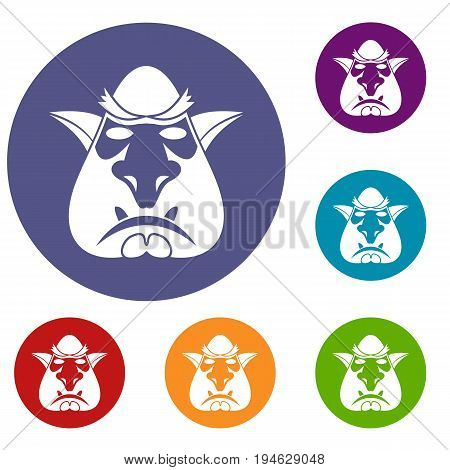 Head of troll icons set in flat circle reb, blue and green color for web