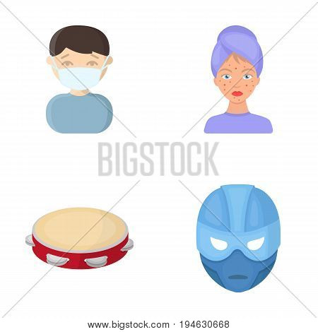 business, medicine, education and other  icon in cartoon style., mask, Superman, cinematography, icons in set collection.
