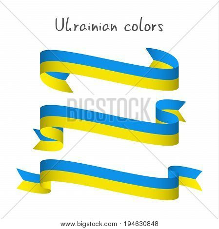 Set of three modern colored vector ribbon with the Ukrainian colors isolated on white background abstract Ukrainian flag Made in Ukraine logo