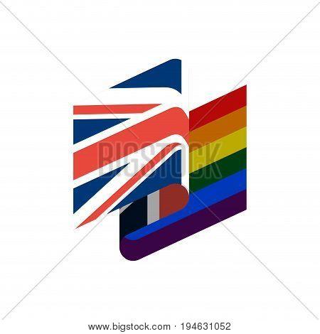 British And Lgbt Flag. Symbol Of Tolerant United Kingdom. Gay Sign Rainbow