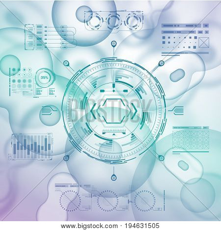 Cell background with futuristic interface elements. HUD UI for medical app. Futuristic user interface. Molecular research. Nanotechnology medicine concept.