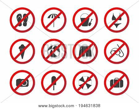 Set of travel prohibition icons beach restriction signs icon set for your infographic holiday symbols isolated on white background