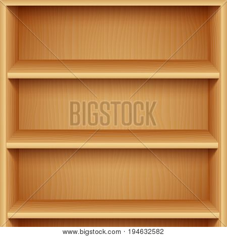 Three empty wooden bookshelves. Product presentation mock-up or template