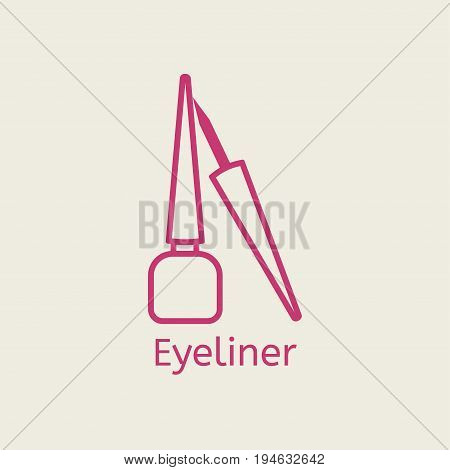 Vector cosmetic eyeliner line icon. Eye liner thin linear signs for makeup and visage. Cosmetic for underlining the eyes.