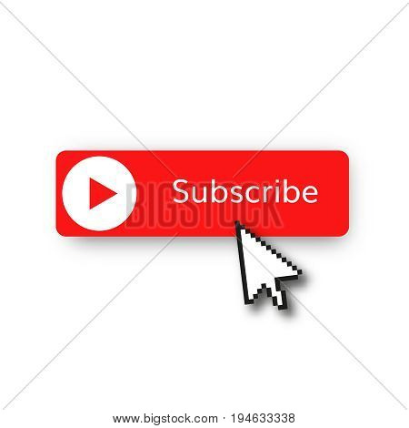subscribe red button vector illustration  red play  video subscribe channel