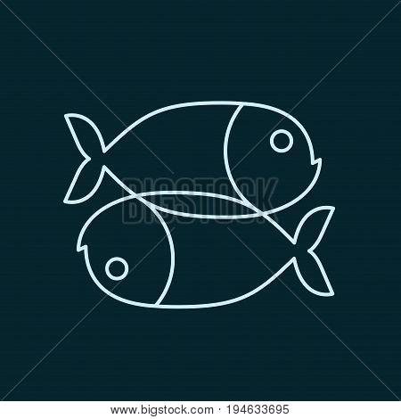 Fish Zodiac Sign Icon. Sea Animal Symbol Isolated