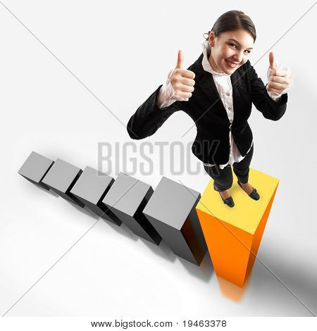 Young attractive business woman on the highest bar of a 3d graphic