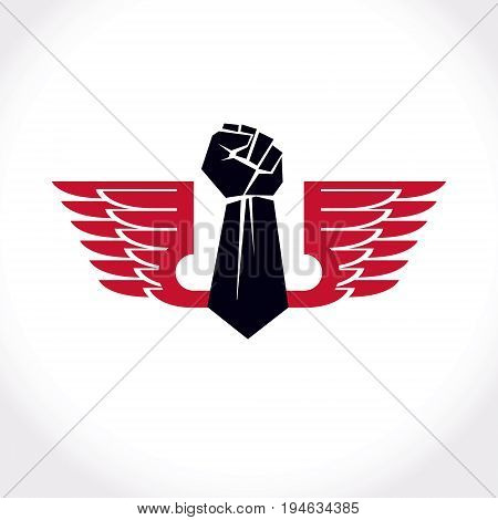 Vector illustration created with clenched fist of a strong man and bird wings. No limits and restrictions conceptual emblem.