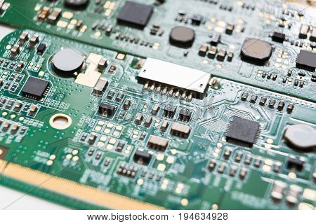 Computer motherboard microcircuit close up. Components of microprocessor. Technology, science and electronics concept